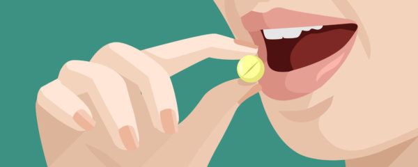 41189000 - woman takes a pill. vector flat illustration